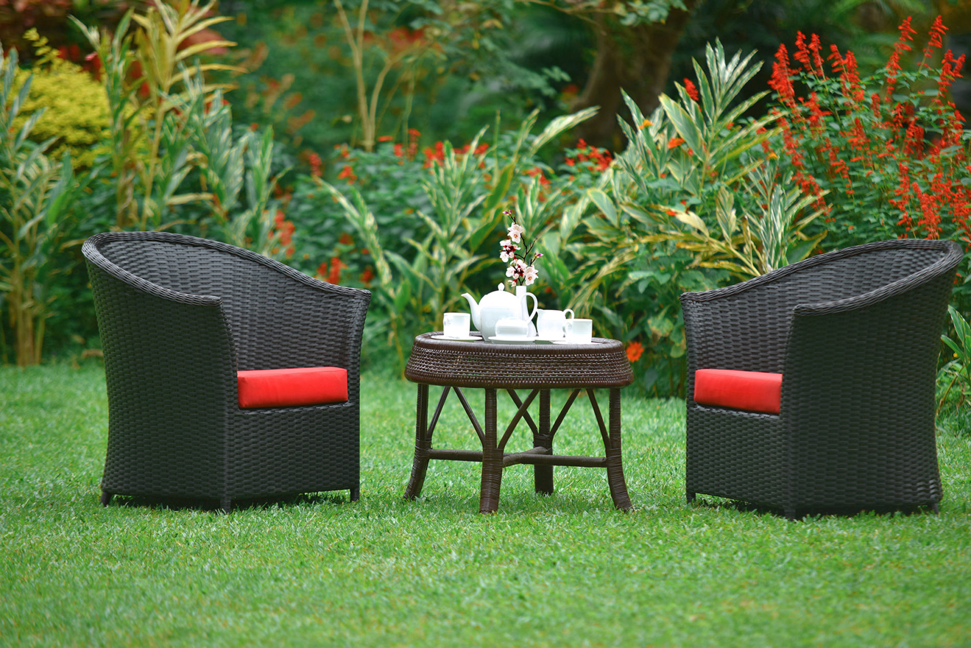 tea time in the beautiful botanical garden at homes bungalow kandy